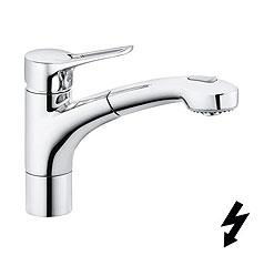 Kludi MX - dřezová páková baterie, výsuvná sprcha, pro beztlakový ohřívač vody 399420562