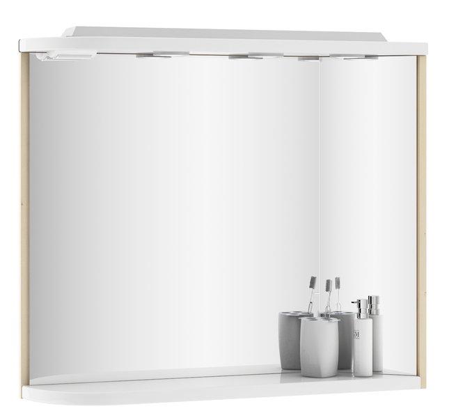 Ravak Rosa - zrcadlo 78x68 s osvětlením a zásuvkou, bříza/bílá X000000160/X000000161 Rosa