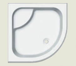 343 sprchová vanička čtvrtkruhová hluboká 90x90 R55, včetně panelu a nožiček