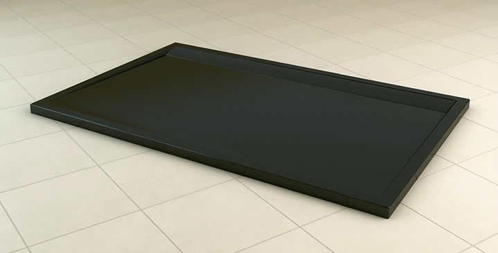 Ronal (SanSwiss) WIA - obdélníková sprchová vanička 800 x 1200 s lineárním odtokovým žlabem, černá WIA8012006154