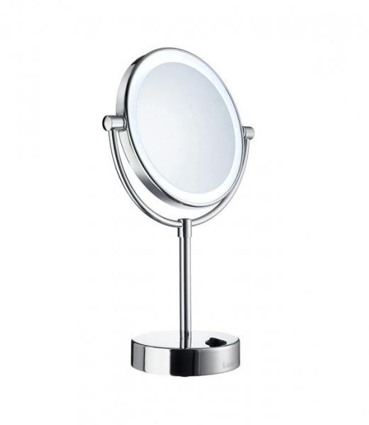 Smedbo Outline - kosmetické zrcátko s LED osvětlením, zvětšující (5x), k postavení, chrom FK474E