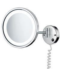 Smedbo Outline - kosmetické zrcátko s LED osvětlením, zvětšující (5x), nástěnné, chrom FK470E
