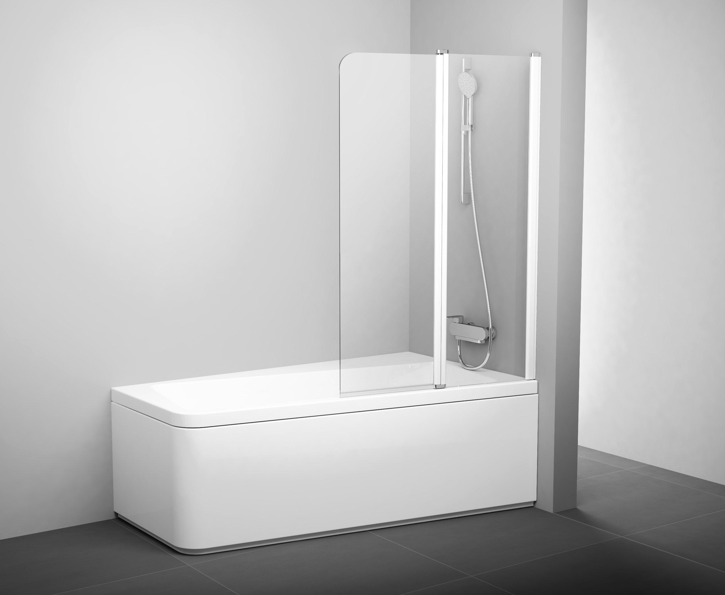 10CVS2 100 L vanové zástěna rám bílá/sklo transparent