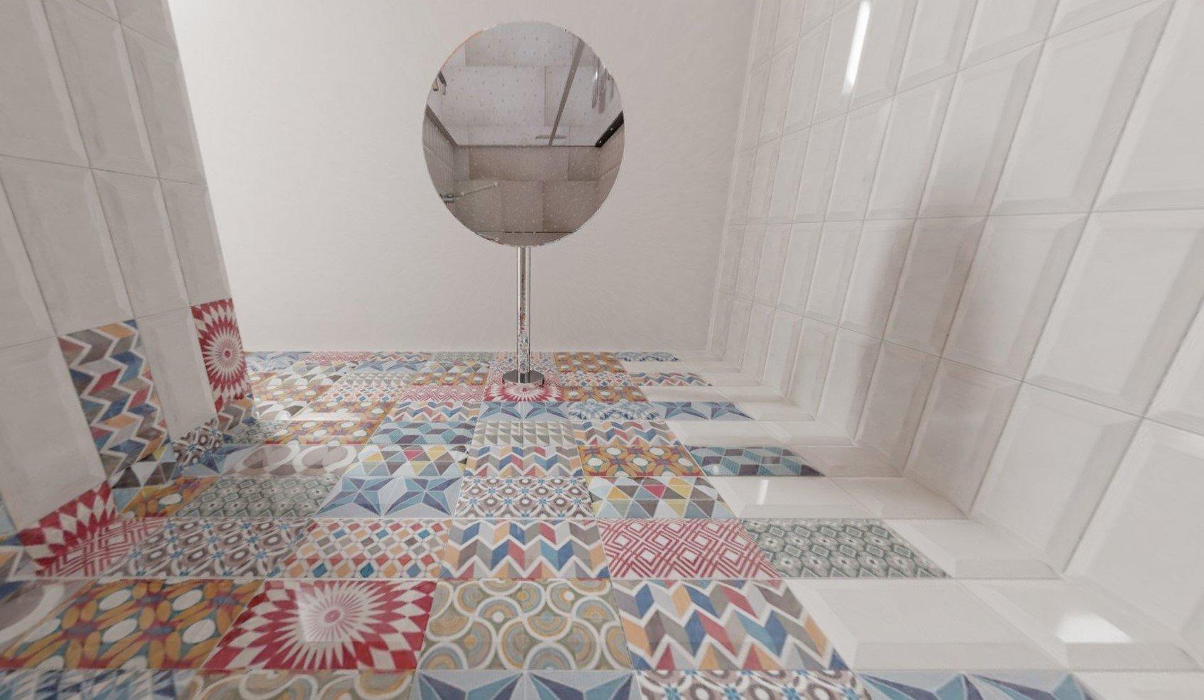3D návrh - paneláková koupelna Metro