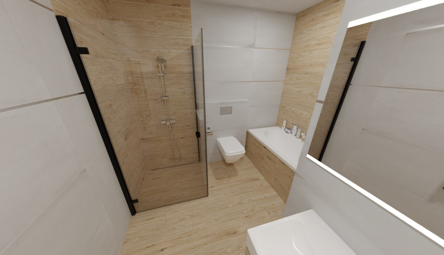 3D návrh - koupelna Derby Gris + Landhaus Rettificato
