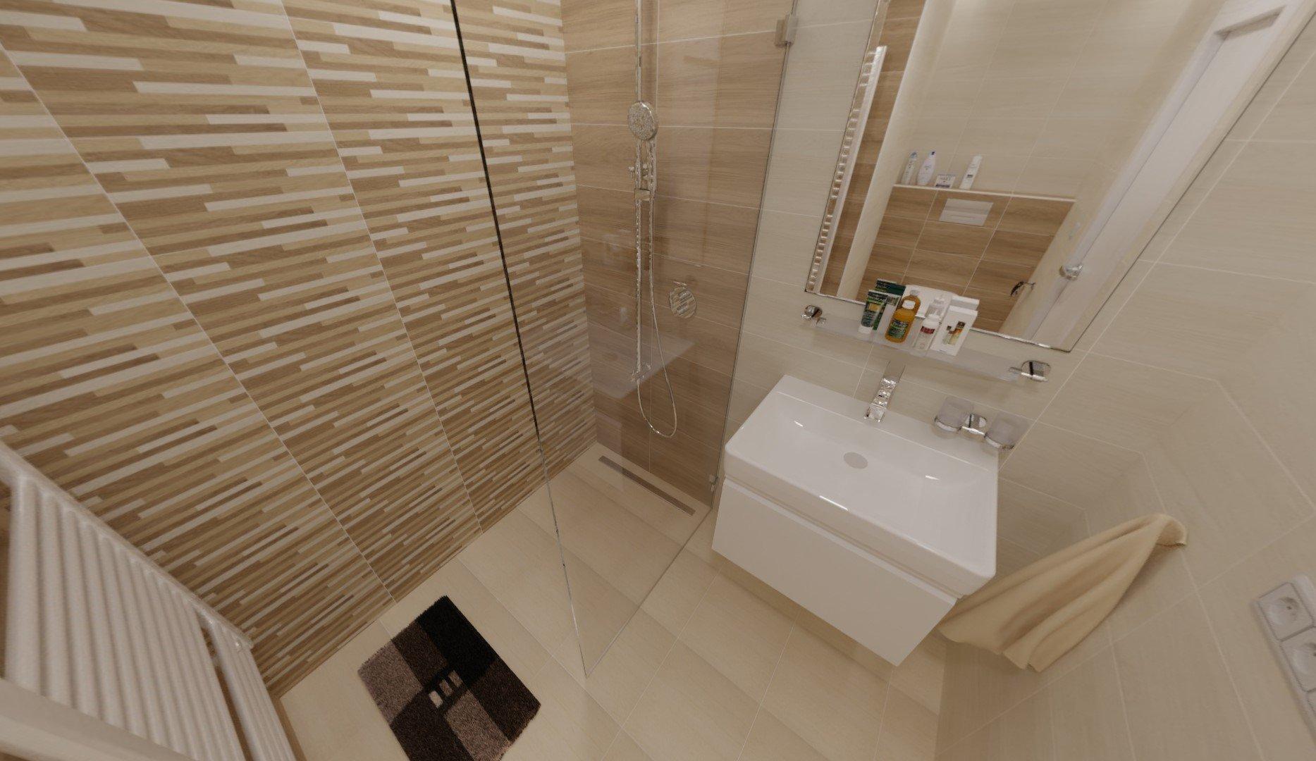 3D návrh - paneláková koupelna Ostrava