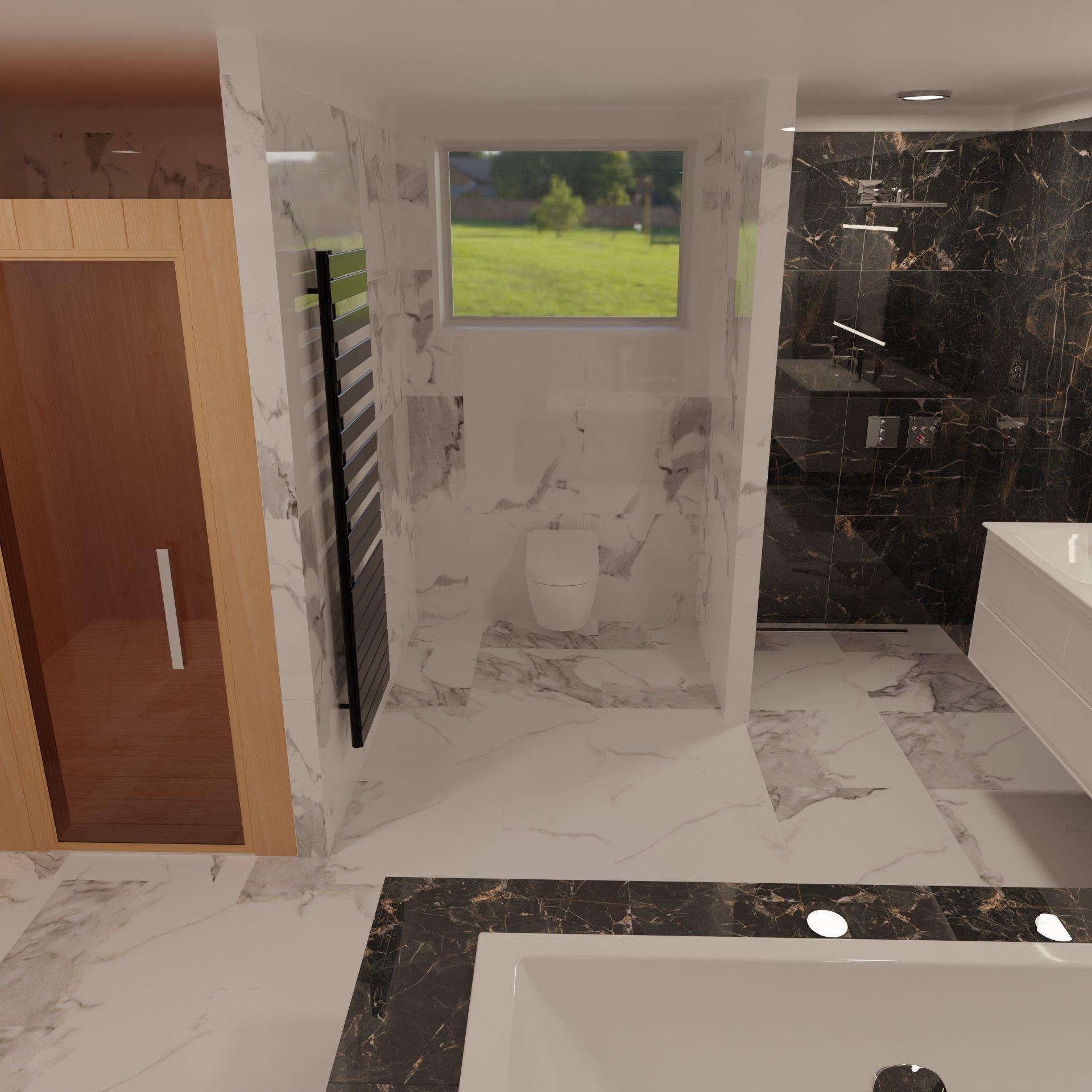 3D návrh - koupelna Marquina gold, Calacatta white
