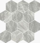Imperial Esagona Satin Bardiglio - dlaždice mozaika 25x29 šedá