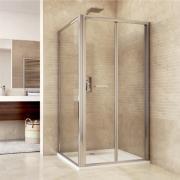 Sprchový kout, Mistica, obdélník, 90x100 cm, chrom ALU, sklo čiré, dveře zalamovací