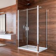 Sprchový kout, Lima, obdélník, 80x90 cm, chrom ALU, sklo čiré, dveře lítací
